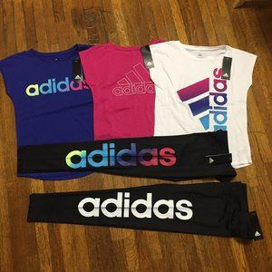 Bundle Adidas Girl's Graphic Tees and Tights